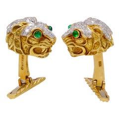 DAVID WEBB Diamond Lion Cufflinks
