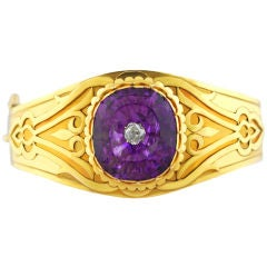Antique Rare Gold and Amethyst  Arts and Crafts Bangle