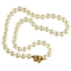Tiffany Pearl Necklace With  X Clasp