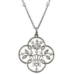 Belle Epoque Platinum Rose Diamond Natural Pearl Necklace
