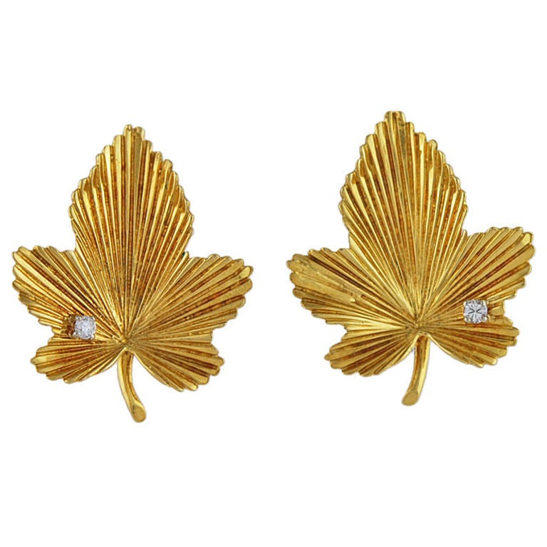 Tiffany Gold and Diamond Leaf Earrings For Sale