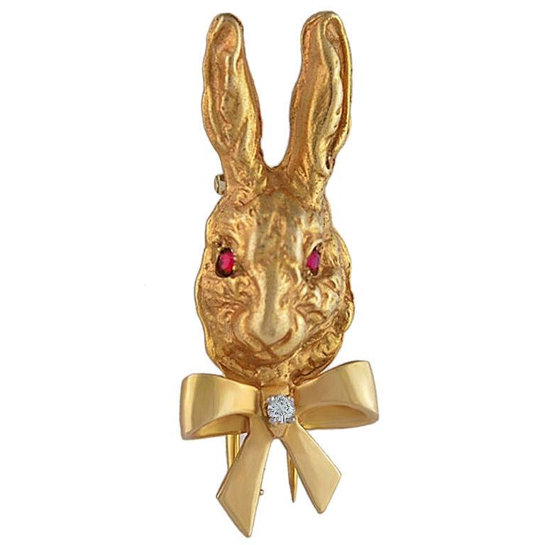Tiffany Gold Rabbit Clip For Sale