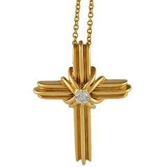 Tiffany 18K and Diamond Cross on Chain