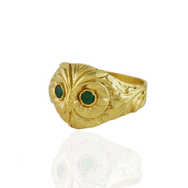 14K Gold Owl Ring image 2