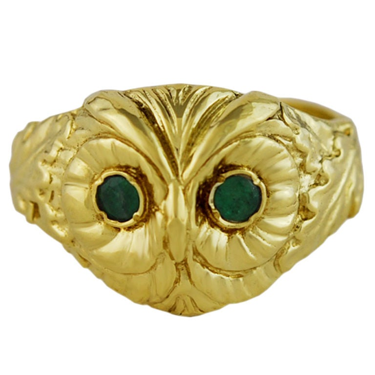 14K Gold Owl Ring