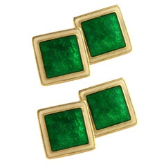 Gold Green and Cream enamel Double- sided Cufflinks