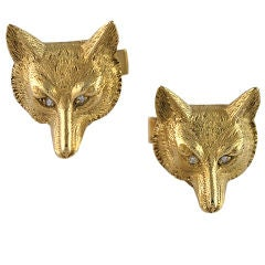 Striking Gold Fox Head Cufflinks