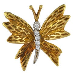 TIFFANY Gold and Diamond Butterfly Pin