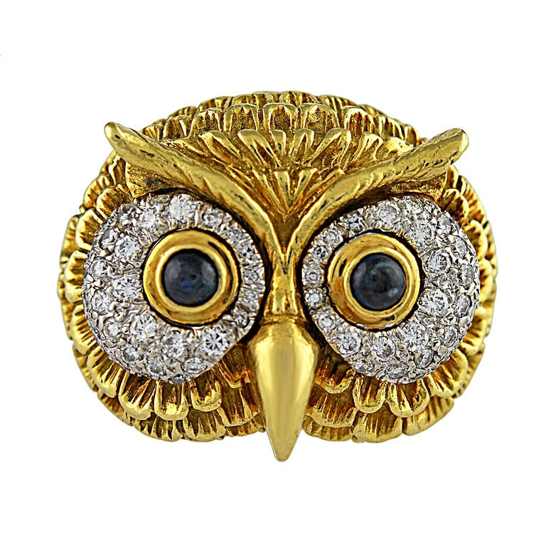 Wonderful Gold And Diamond Owl Ring Pin At 1stdibs
