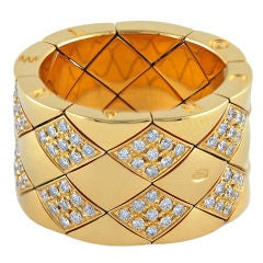 CHANEL Gold and Diamond Matelasse Flexible Ring