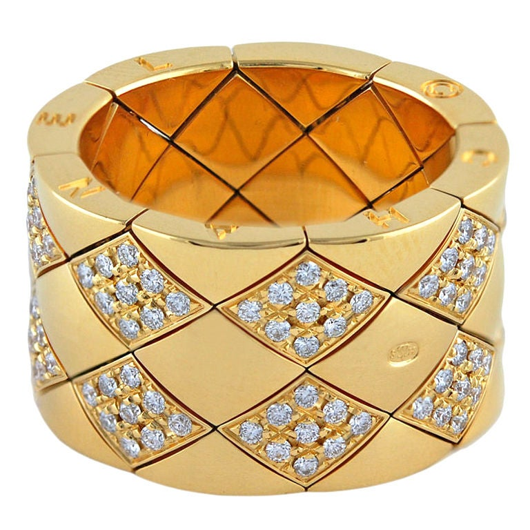 CHANEL Gold and Diamond Matelasse Flexible Ring 1