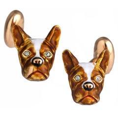 Bull Dog Enamel and Diamond Cufflinks