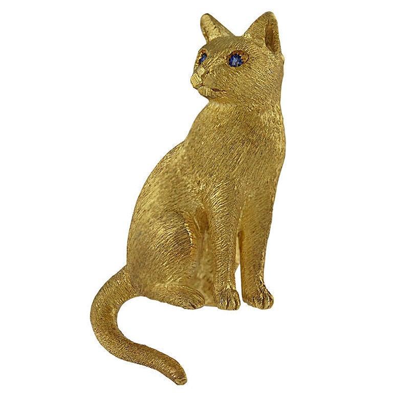 Brushed Gold Cat Pin