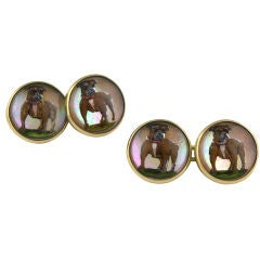 Gold Reverse Crystal Bull Dog Cufflinks