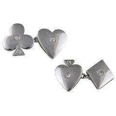 Diamond Platinum Card Suit Cufflinks
