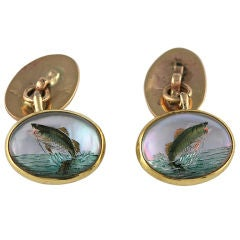 Reverse Painted  Crystal Trout Cuff Links