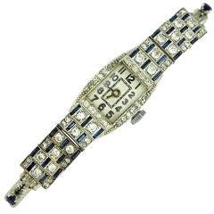 Art Deco Diamond and Sapphire Watch