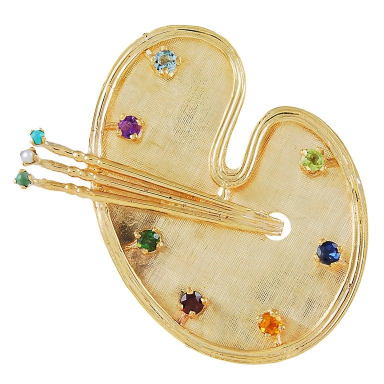 Large Gemset  Artist Palette Brooch For Sale