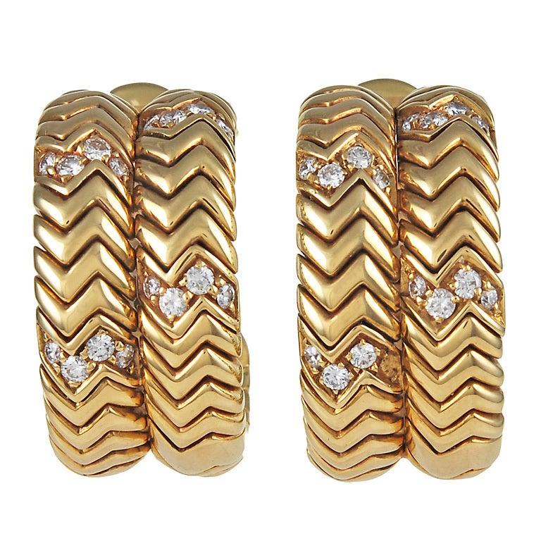BULGARI SPIGA Diamond Gold Ear Clips