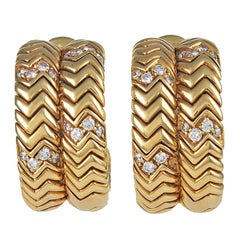 BULGARI SPIGA Diamond Gold Ear Clips
