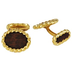 Fred Double-Sided Gold and Wood Cufflinks