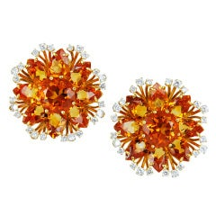 Citrine Diamond Ear Clips