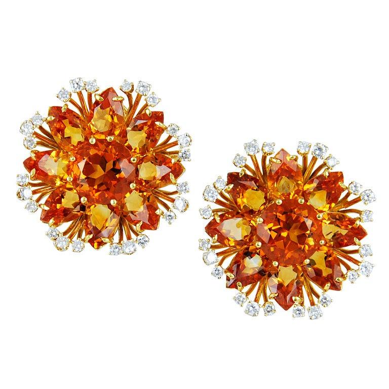 Citrine Diamond Ear Clips