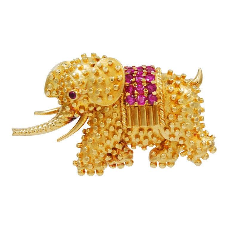 Fabulous TIFFANY Elephant Brooch