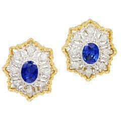 MARIO BUCCELLATI Sapphire Diamond Ear Clips