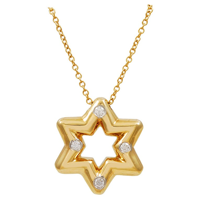 Tiffany & Co. Diamond Gold Star of David