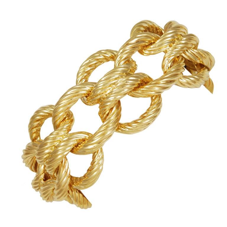 Wide Gold Nautical Link Bracelet 1