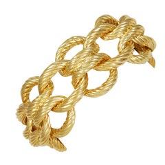 Wide Gold Nautical Link Bracelet