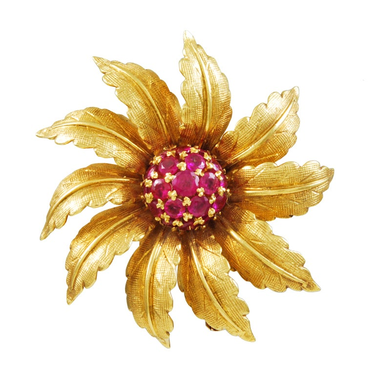 TIFFANY Ruby Flower Brooch