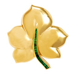 FARAONE Gold and Emerald Leaf Clip