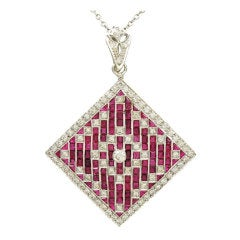 Brilliant Diamond and Ruby Pendant/Pin