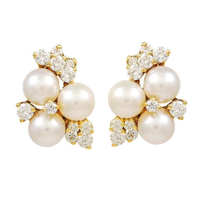 Diamond and Pearl Ear Clips