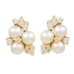 Diamond and Pearl Ear Clips
