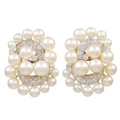 Magnificent Pearl Diamond Ear Clips