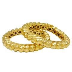 HENRY DUNAY PAIR of Hammered Bangle Bracelets