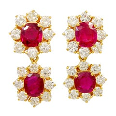 Diamond and Ruby Day to Night Drop Earrings