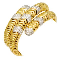 Large Diamond  Gold Snake Cuff