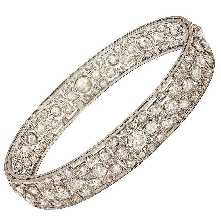 Dazzling Diamond Platinum Wide Bangle Bracelet 1