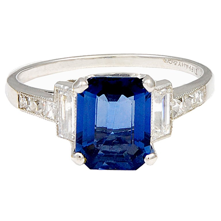TIFFANY and CO Sapphire and Diamond Ring at 1stdibs