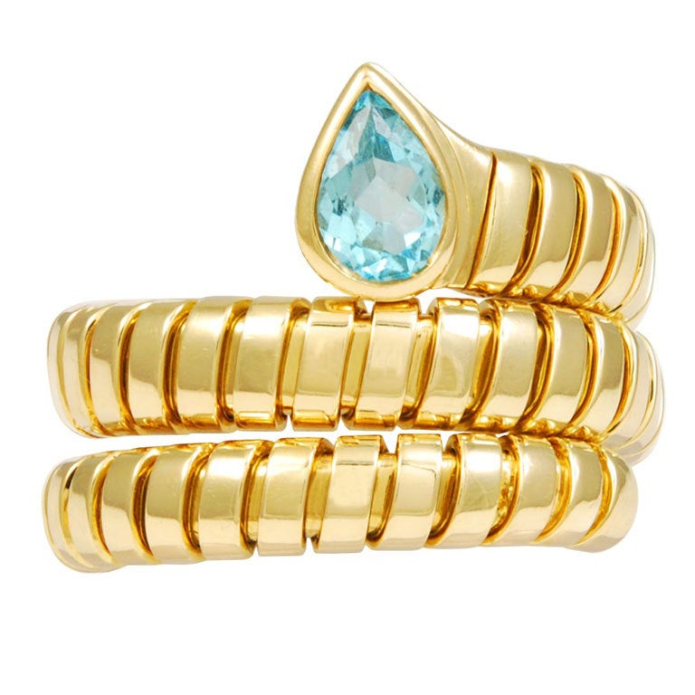 Bulgari Tubogas Topaz Gold Ring