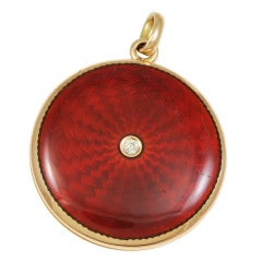 Antique Locket Diamond and Red Enamel