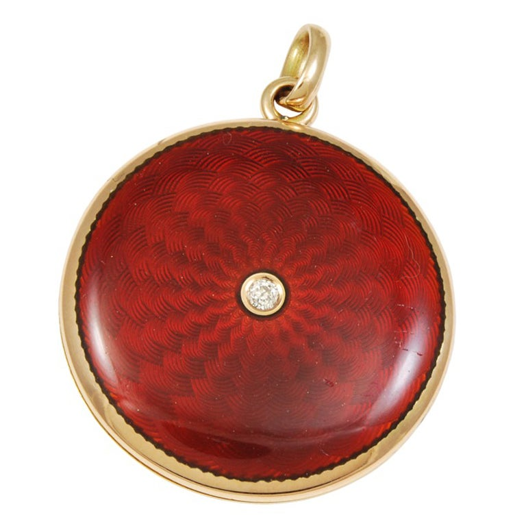 Antique Locket Diamond and Red Enamel 1