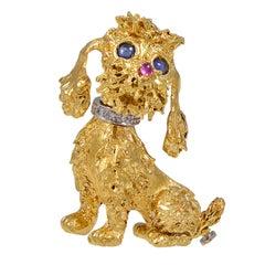 Gem Set Poodle Pin