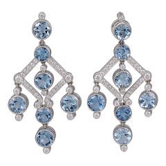 Tiffany & Co. Aquamarine Diamond Chandelier Earrings