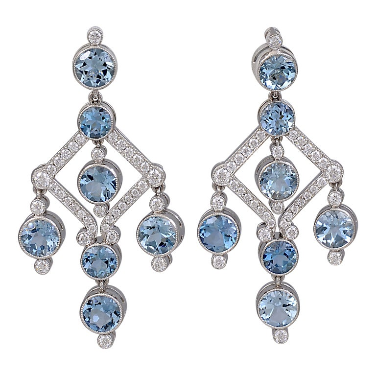 Aquamarine Diamond Chandelier Earrings For