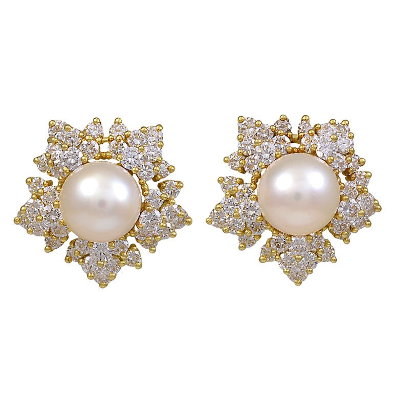 Pearl Diamond Snowflake Ear Clips For Sale